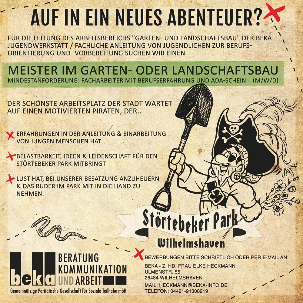 Stellenausschreibung - Störtebeker Park - Meister im GALA-Bereich